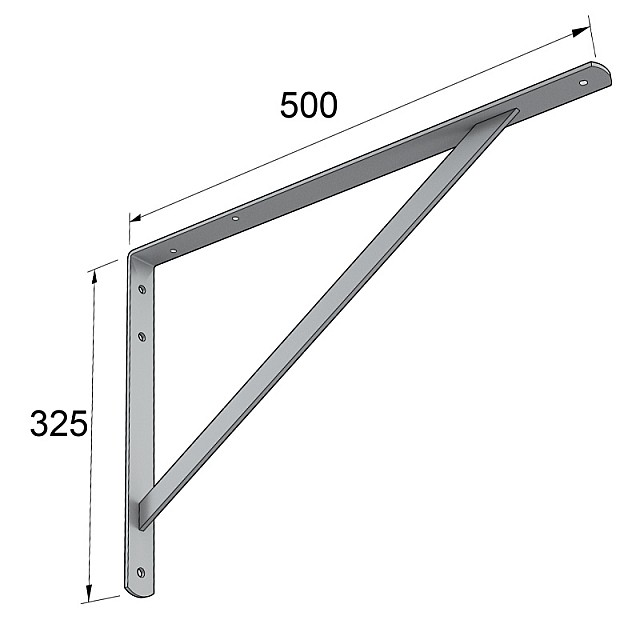 HEAVY DUTY SHELF BRACKET 500x325mm/185kg  GREY